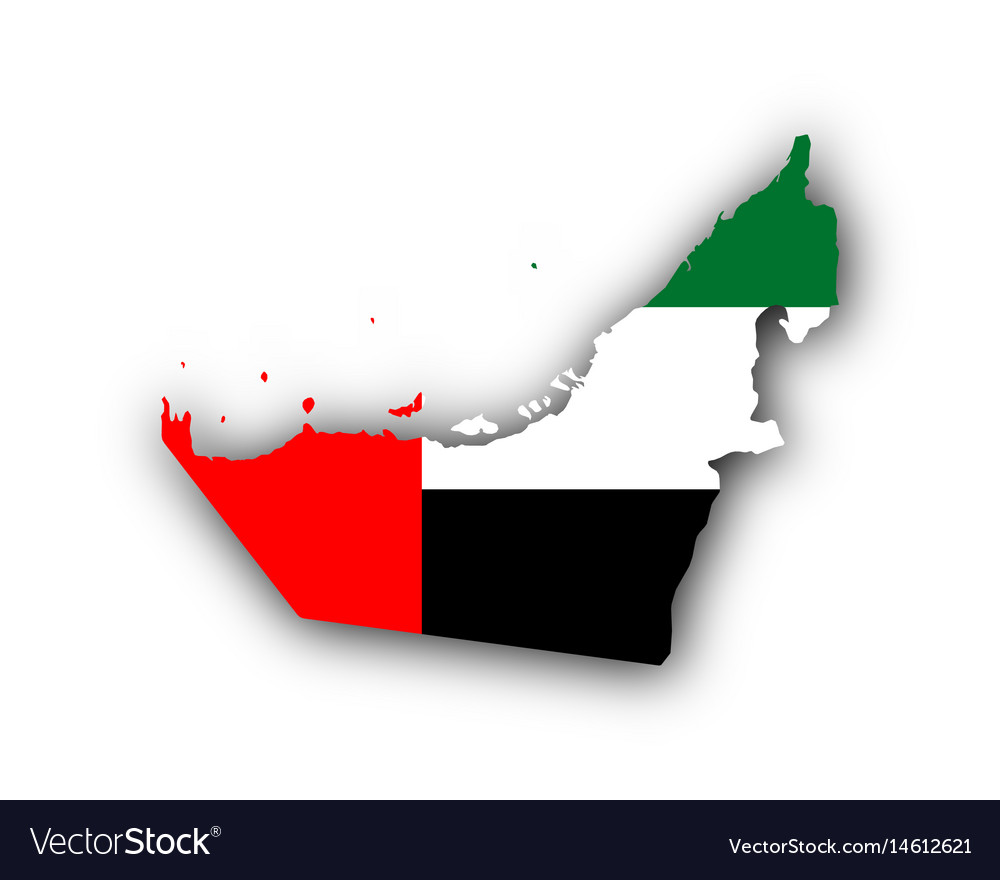 Map and flag of the united arab emirates