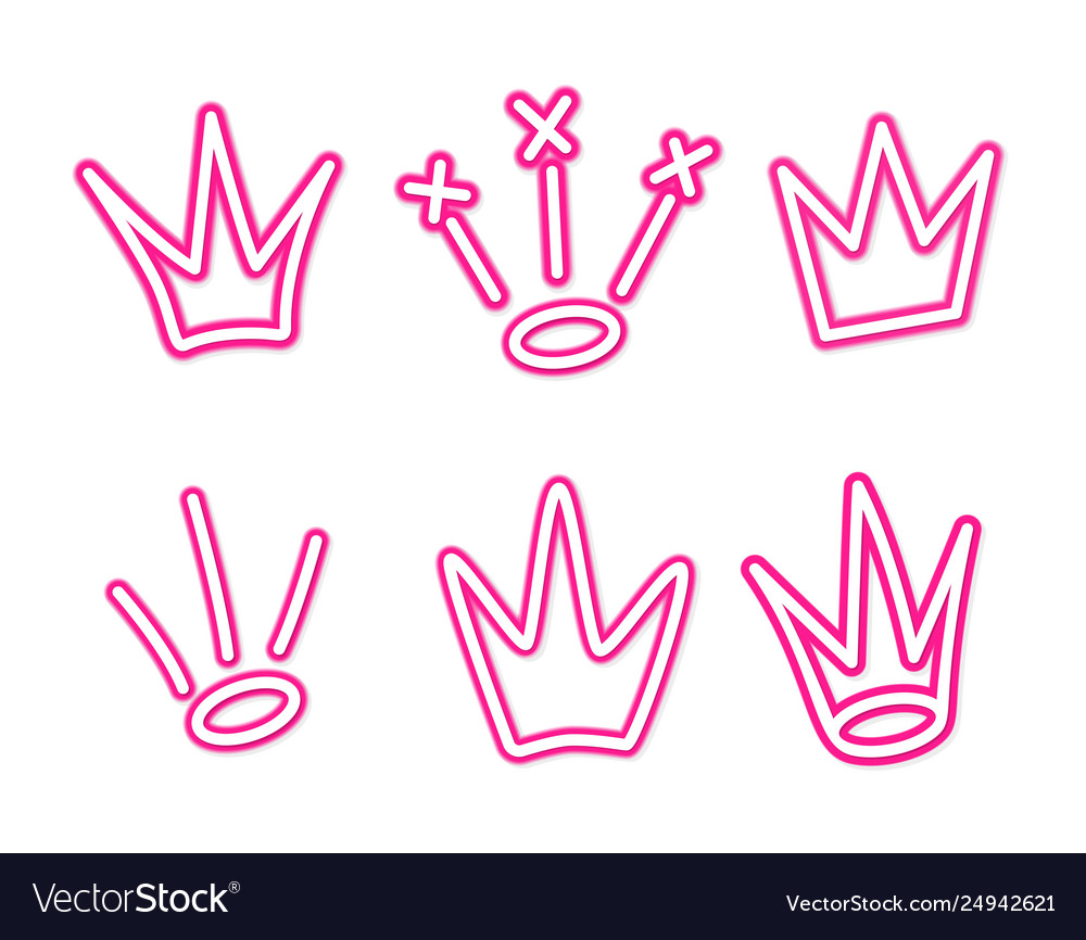 Neon crown graffiti set in pink over white