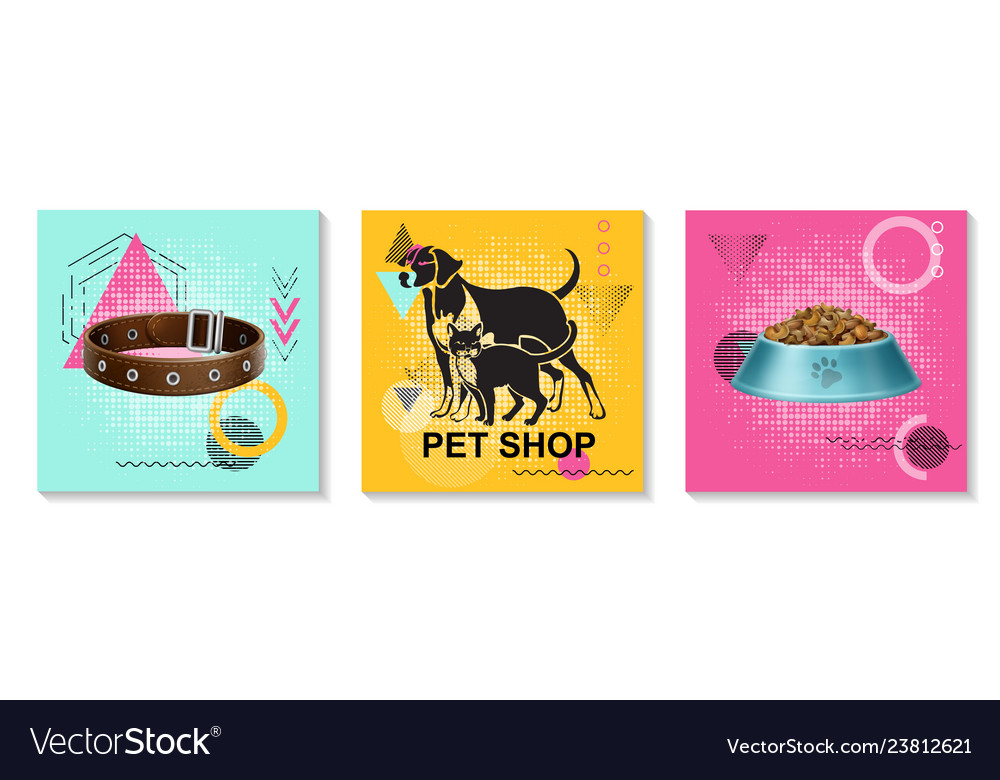Realistic pets care cards collection