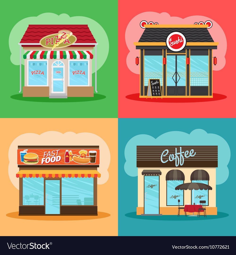 Restaurant or fast food store front vector image