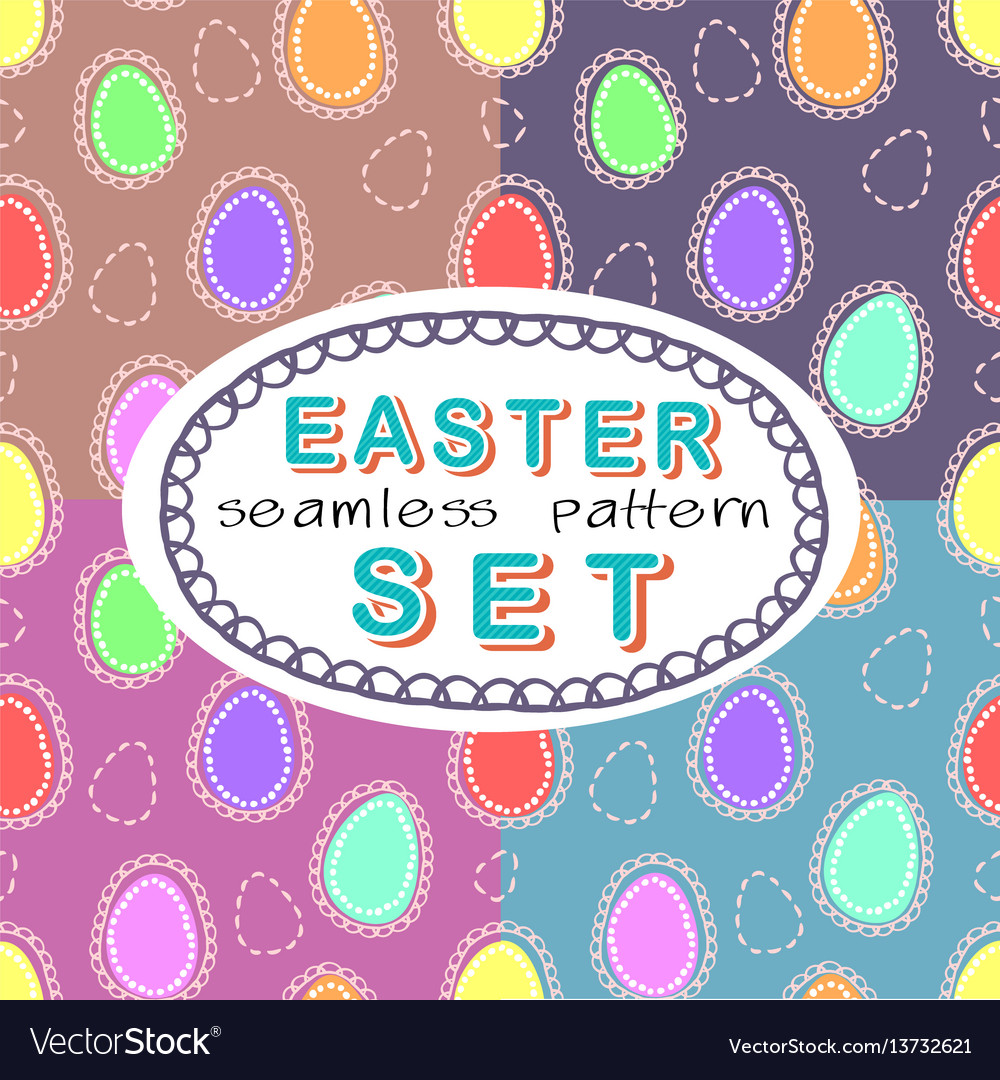 Seamless easter pattern set with four patterns