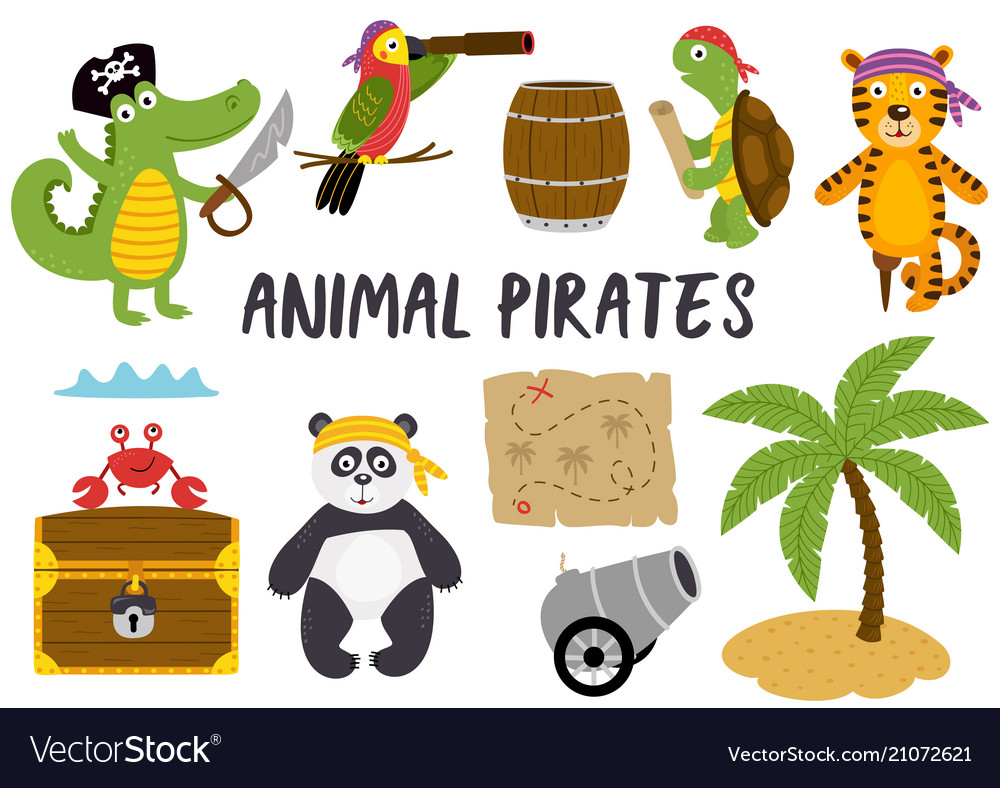 Set isolated animals pirates and other elements