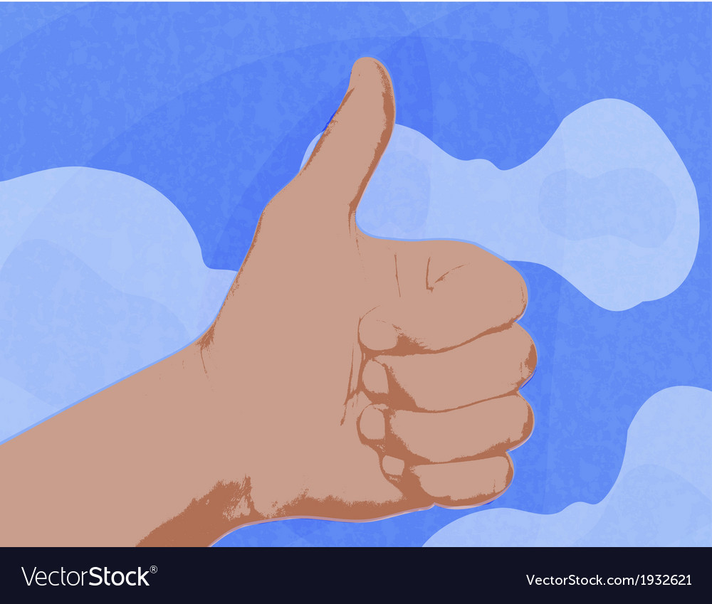 Shows a thumbs up as a symbol against the blue sky