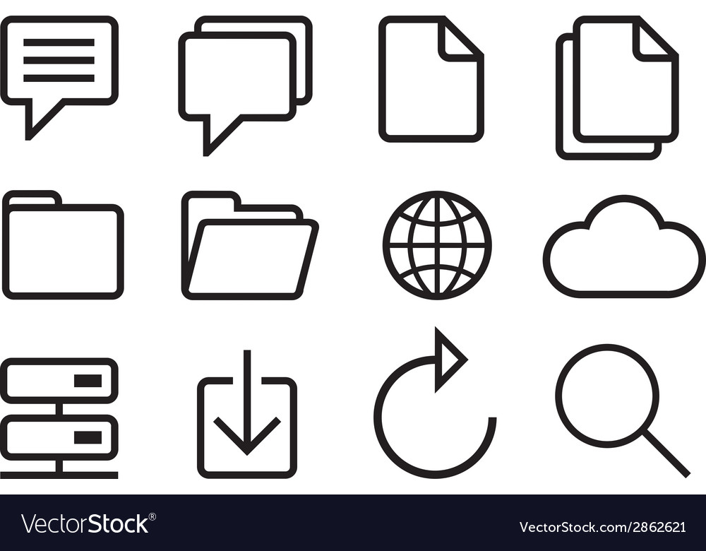 Sketched internet icons