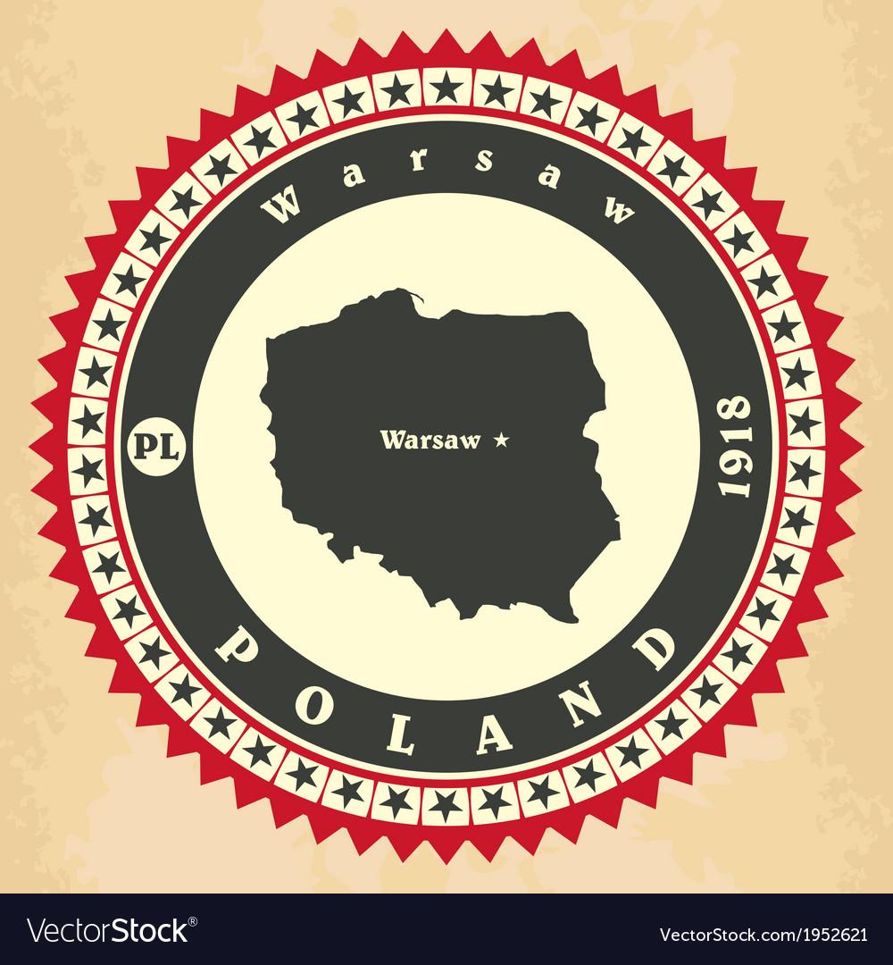 Vintage label-sticker cards of Poland