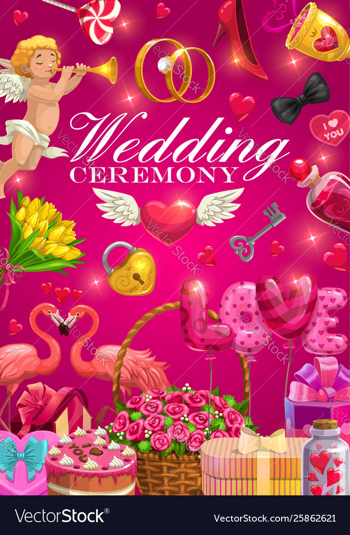 Wedding Rings Bride And Groom Love Hearts Gifts Vector Image