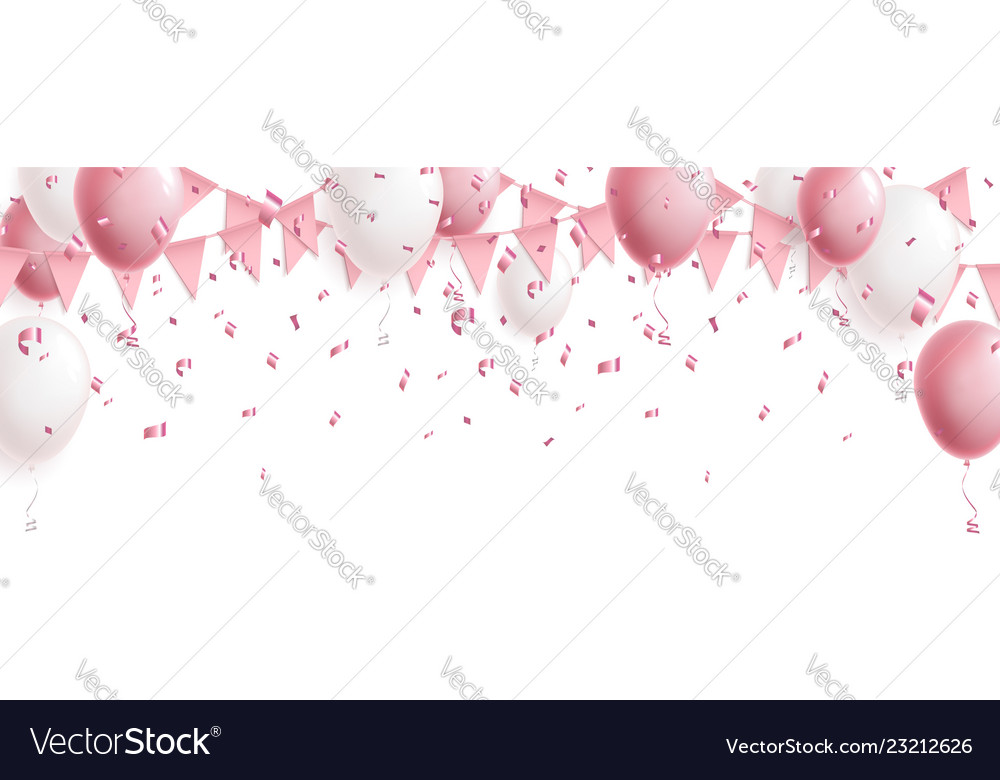 Celebration cute pink background with balloons