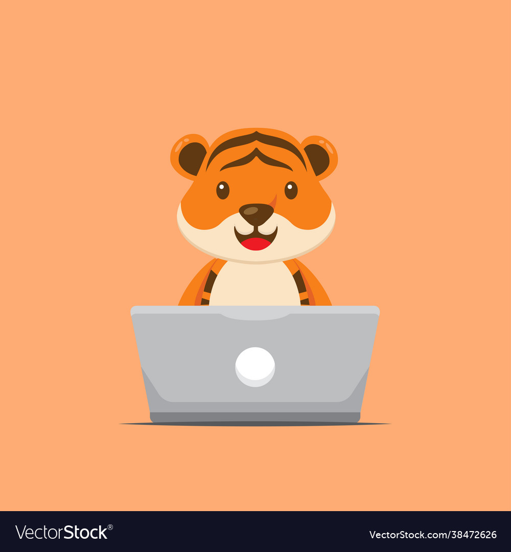 Cute tiger working with laptop