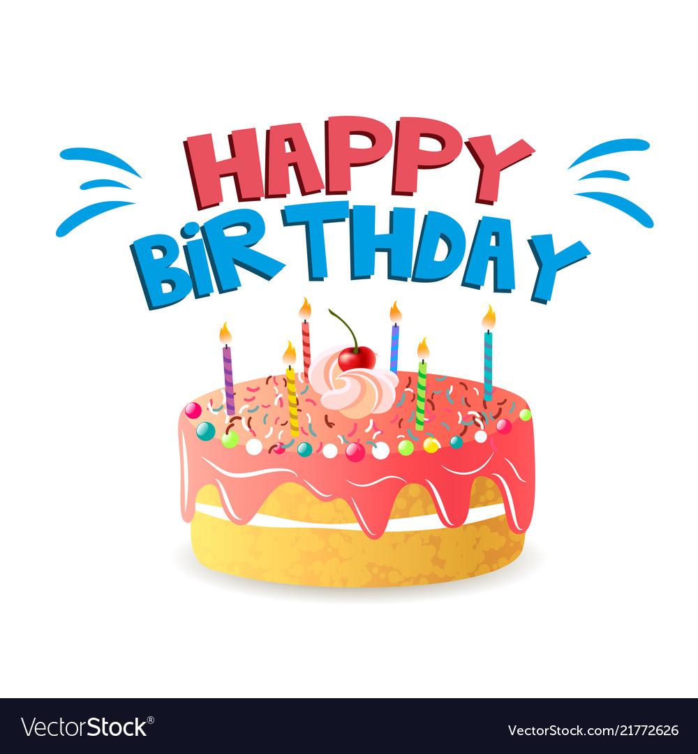 Happy Birthday Big Cake Background Image Vector