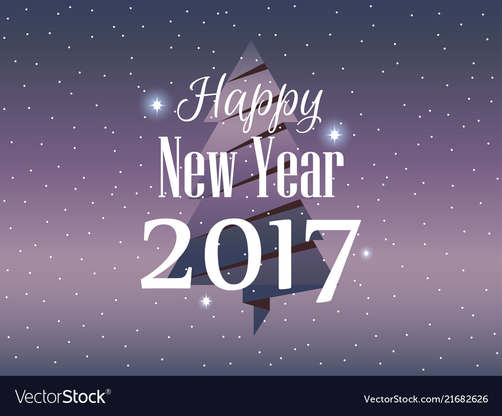 Happy new year 2017 christmas card with paper fir