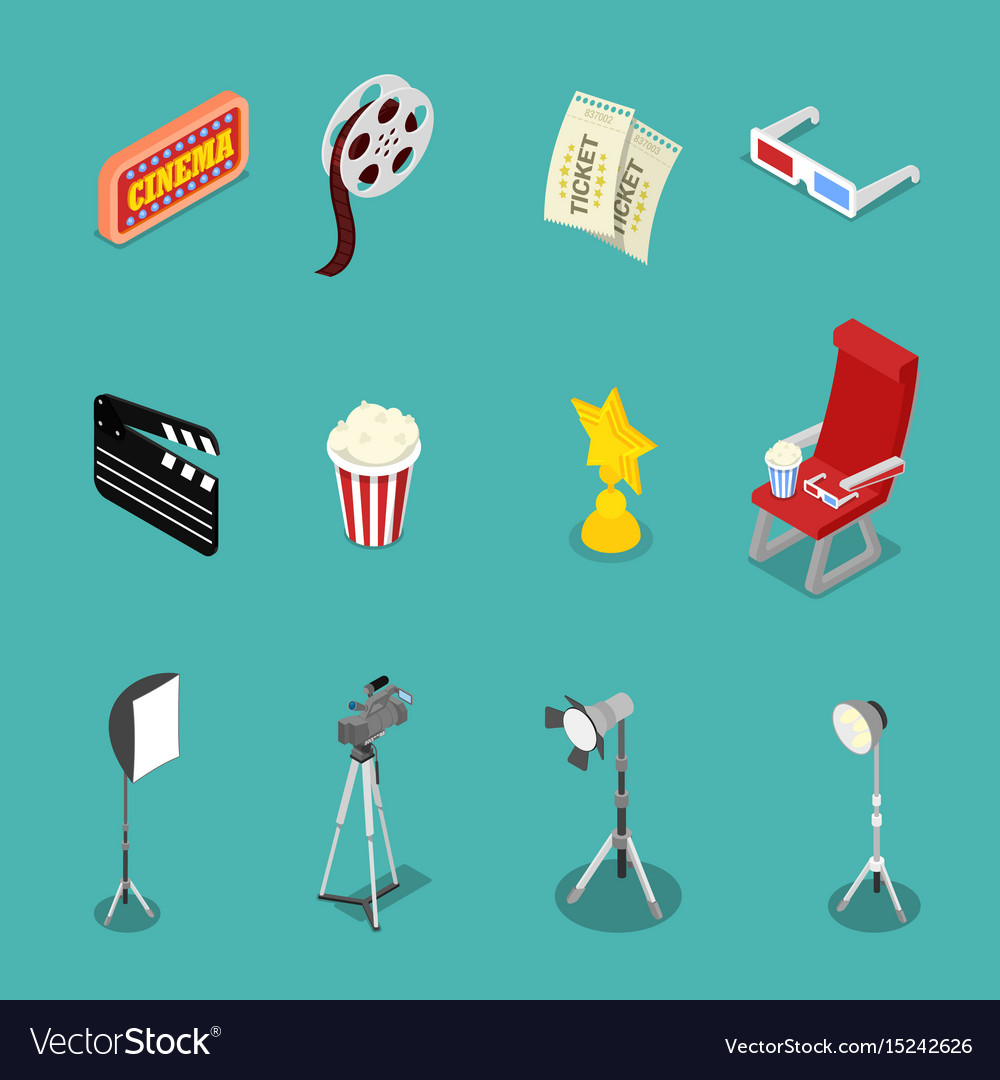Isometric cinema icons with film reel glasses
