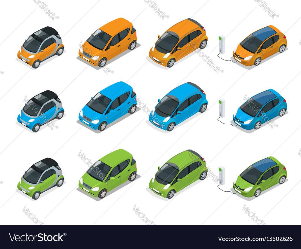 Isometric hybrid electric and mini cars city