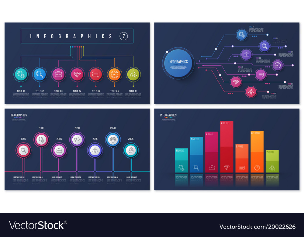 Set of 7 options infographic designs