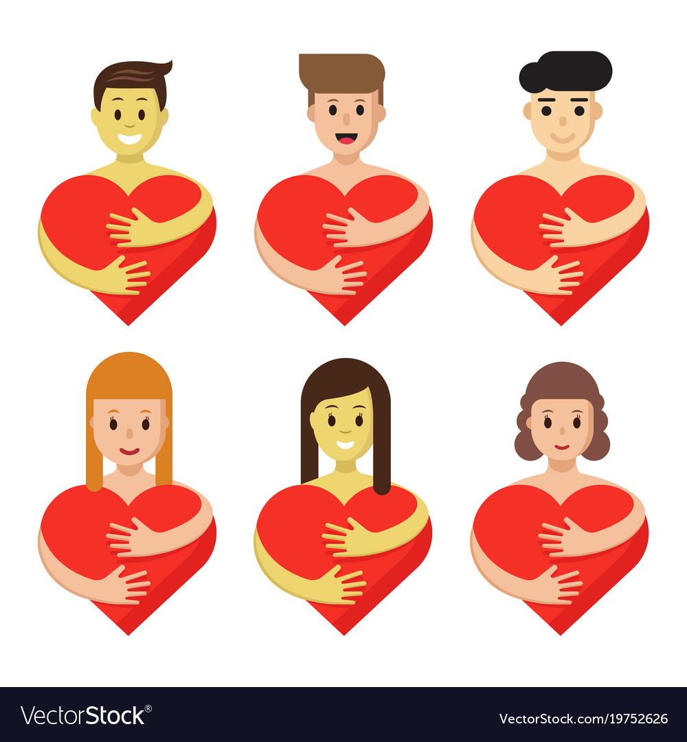 set of characters hugging heart cartoon people vector image