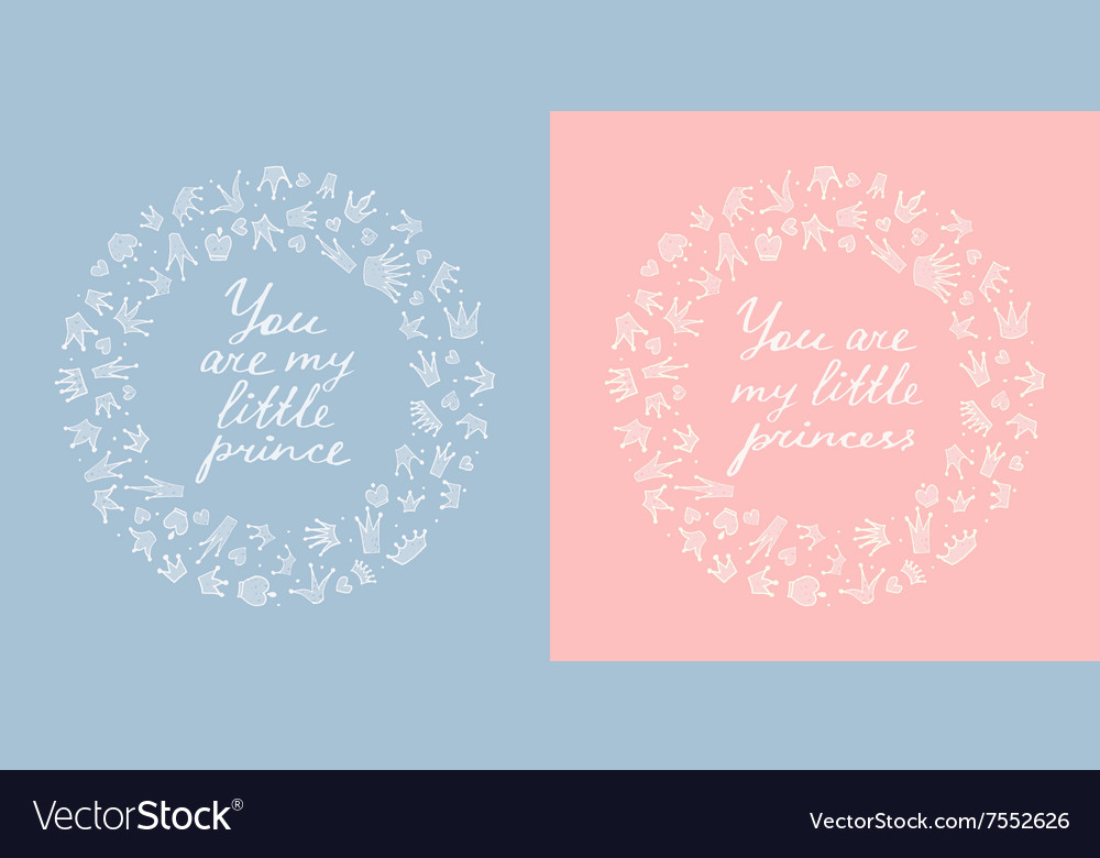 Two round frames of crowns and hearts vector image