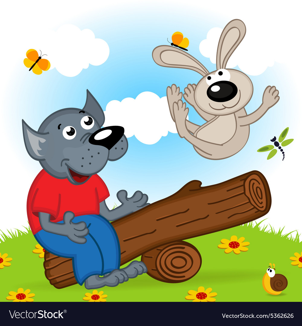 Картинки про зайца и волка