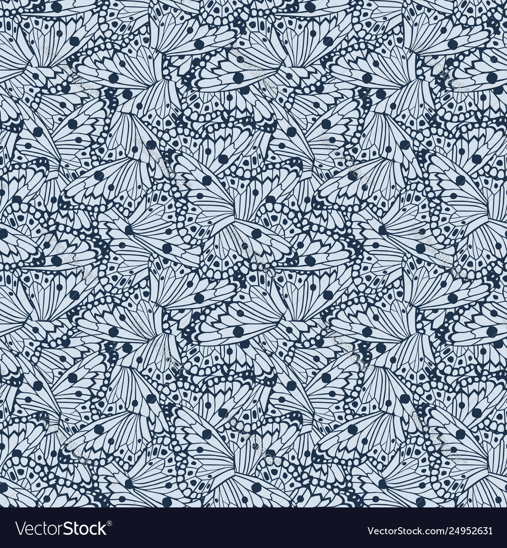 Abstract butterflies wings seamless blue color