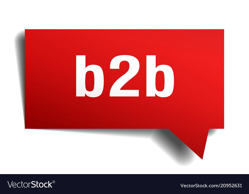 B2b red 3d speech bubble