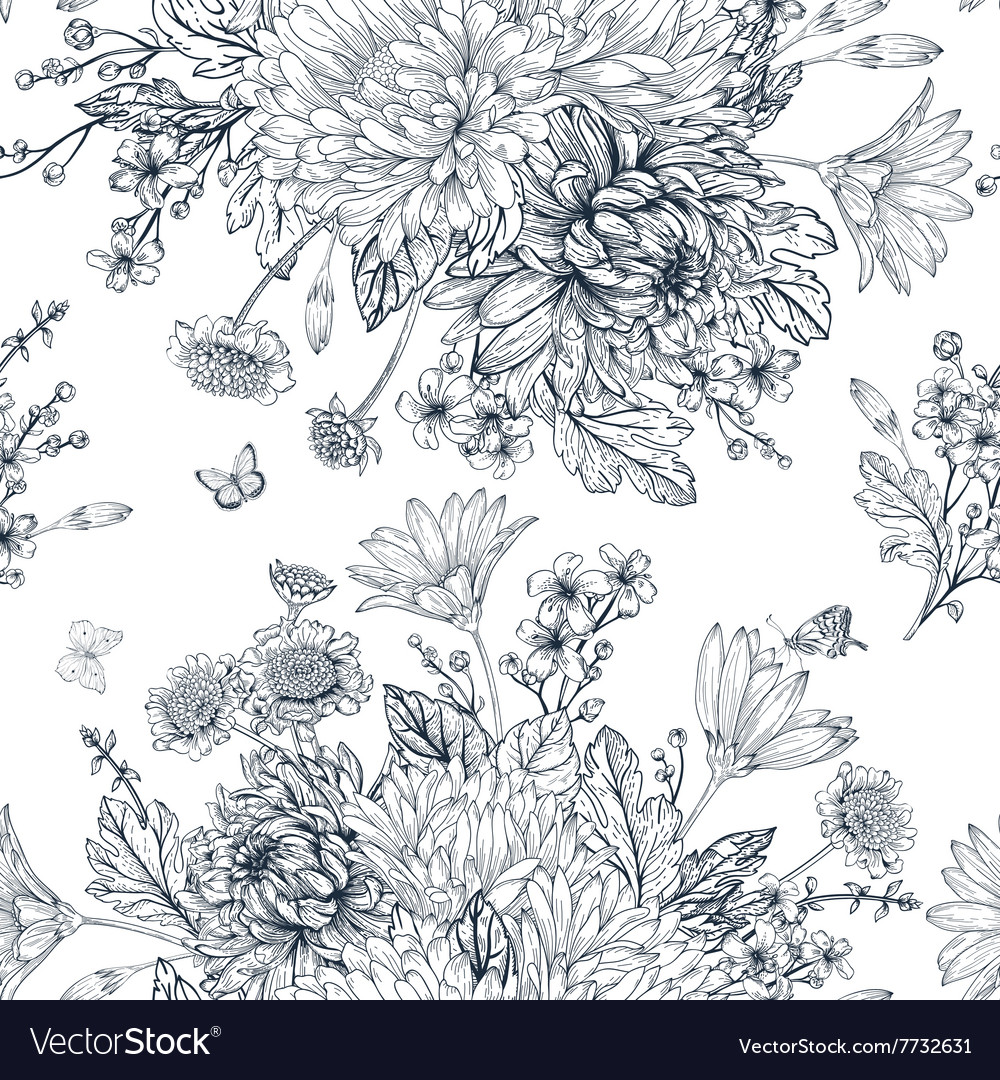 Elegant seamless pattern with bouquets of flowers