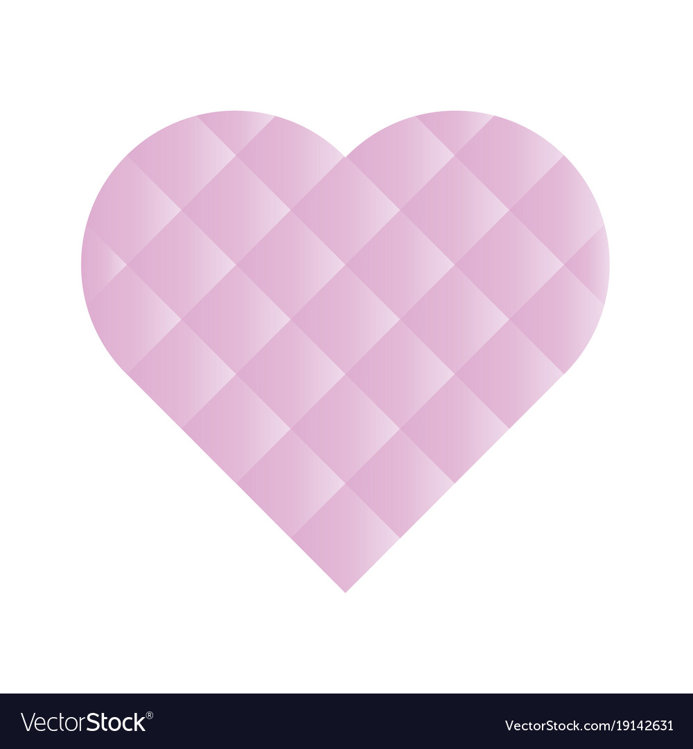 Heart mosaic of square tiles with pink gradients