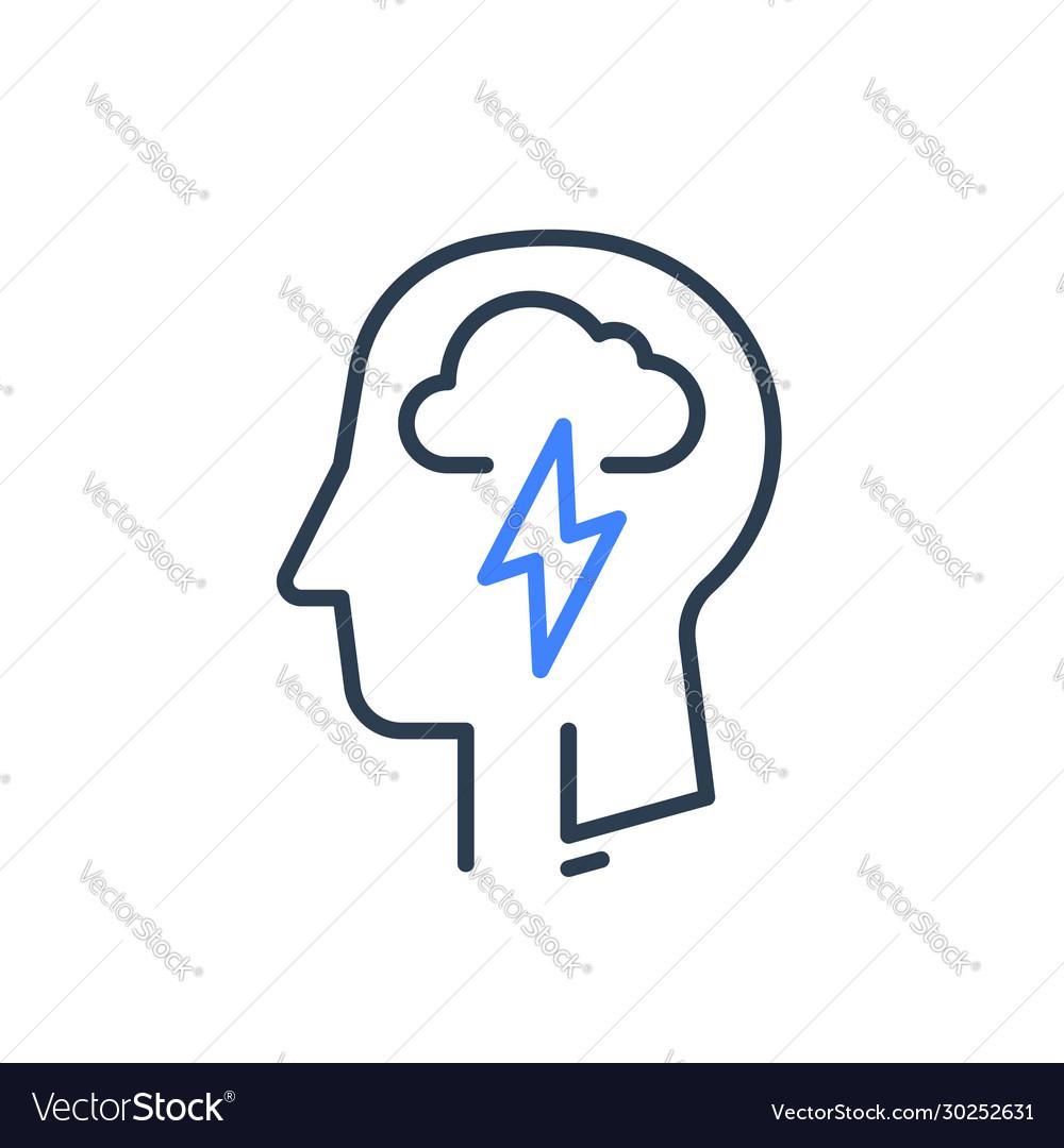 Human head profile and cloud lightning psychology