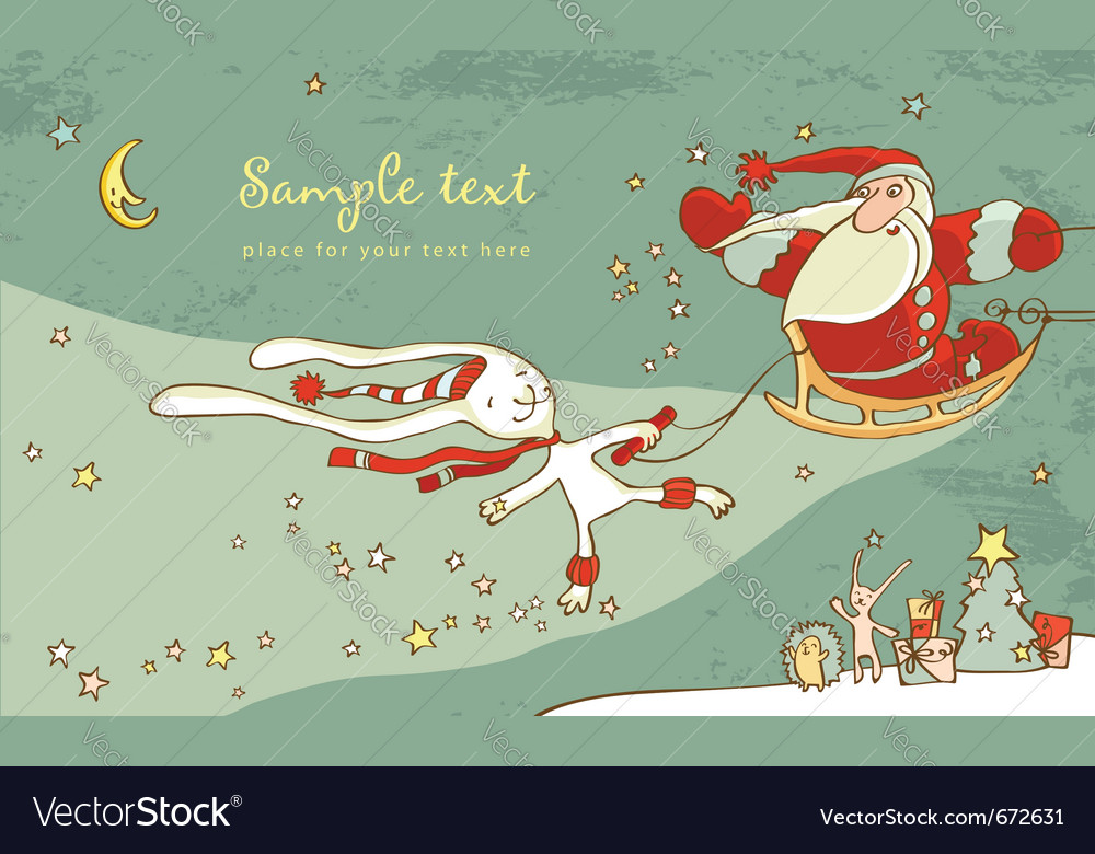 Santa claus and white hare christmas card