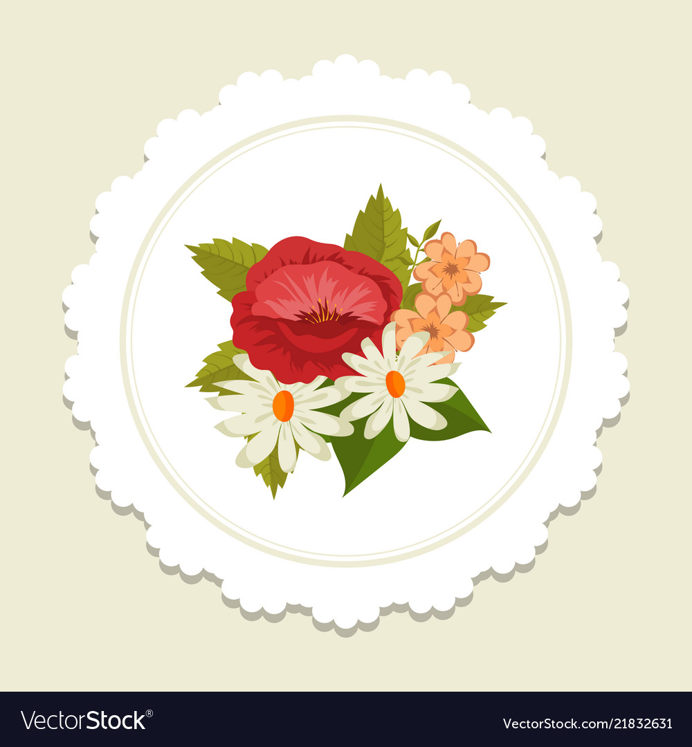 Scandinavic style floral label with