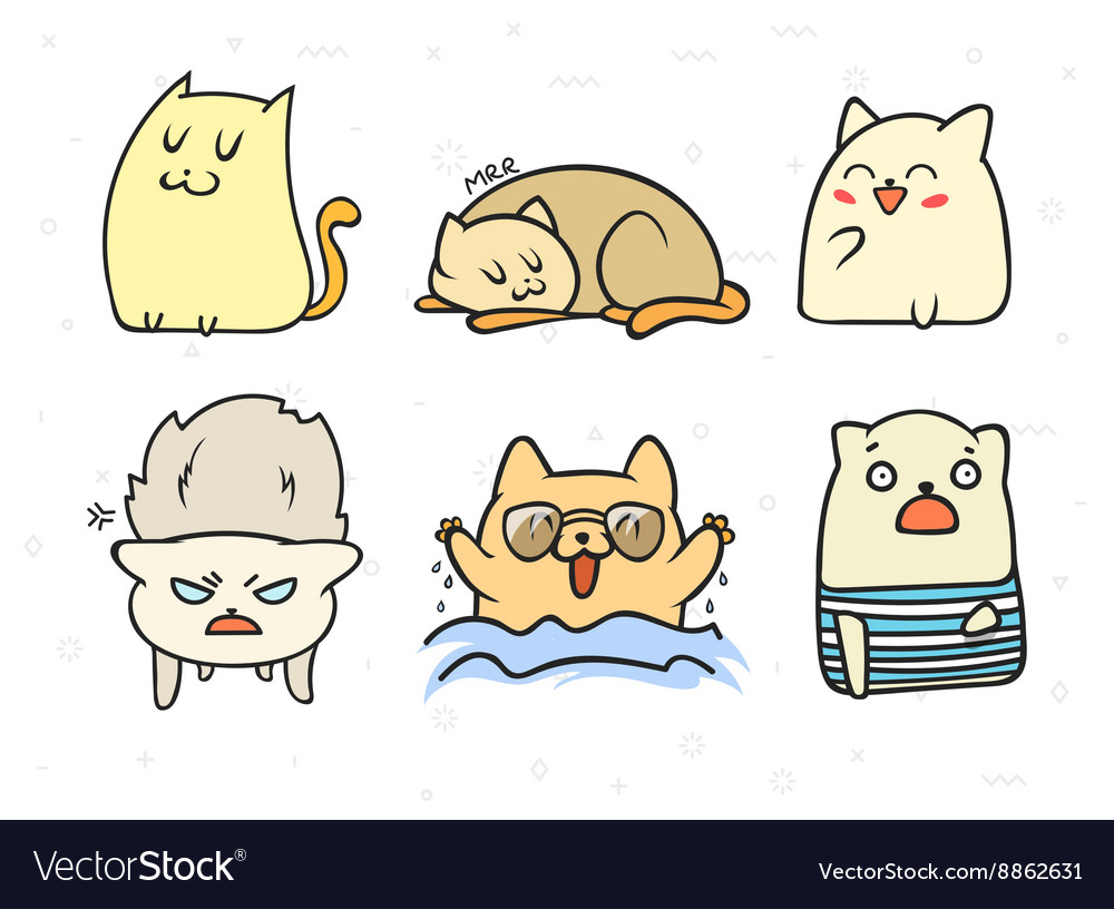 Set of 6 sticker doodle cats with different