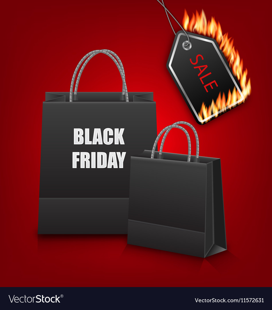 Shopping Paper Bags for Black Friday Sales and