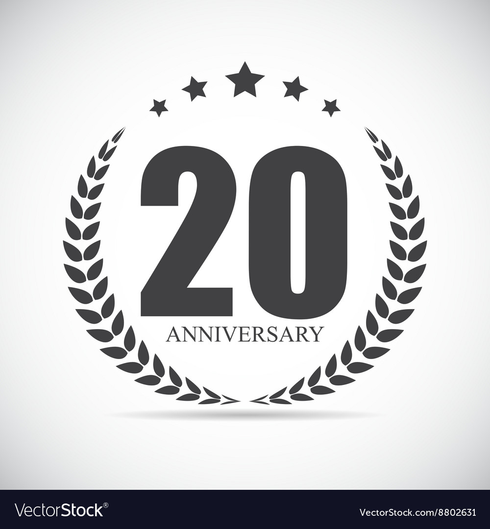 Template Logo 20 Years Anniversary Royalty Free Vector Image