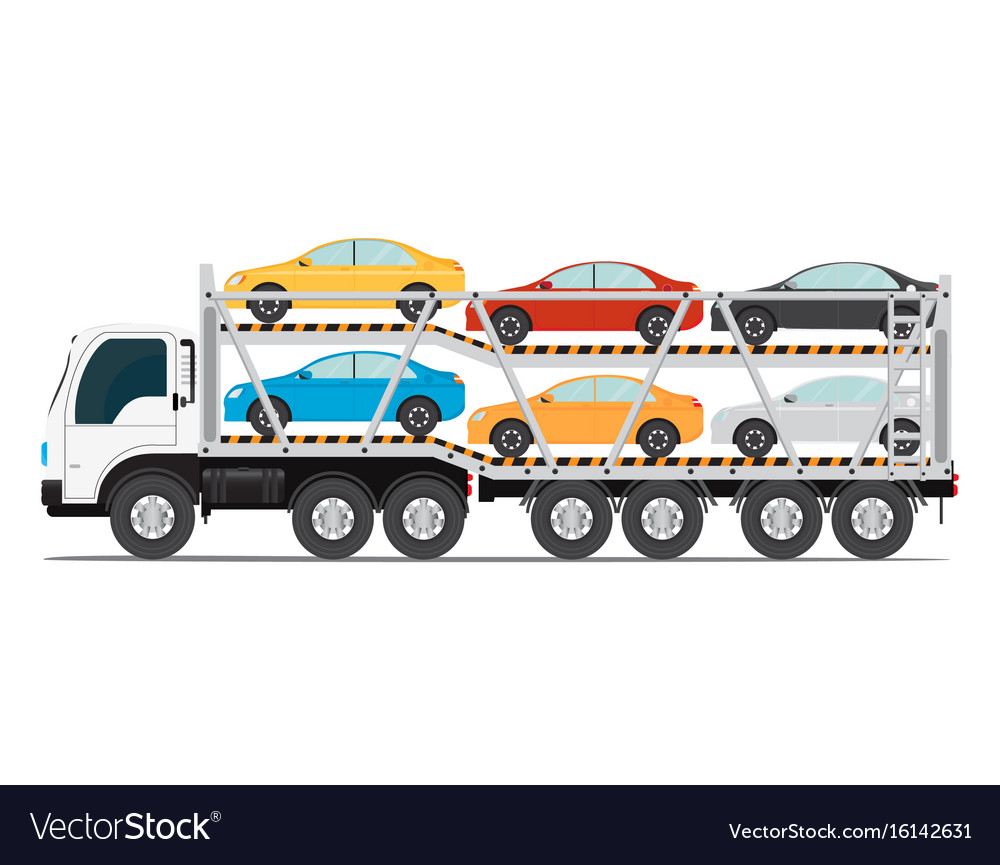 Trailer transports cars with new auto Royalty Free Vector