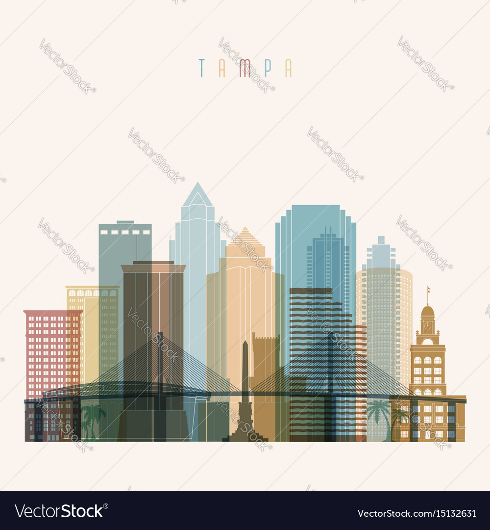 Transparent style tampa state florida skyline vector image