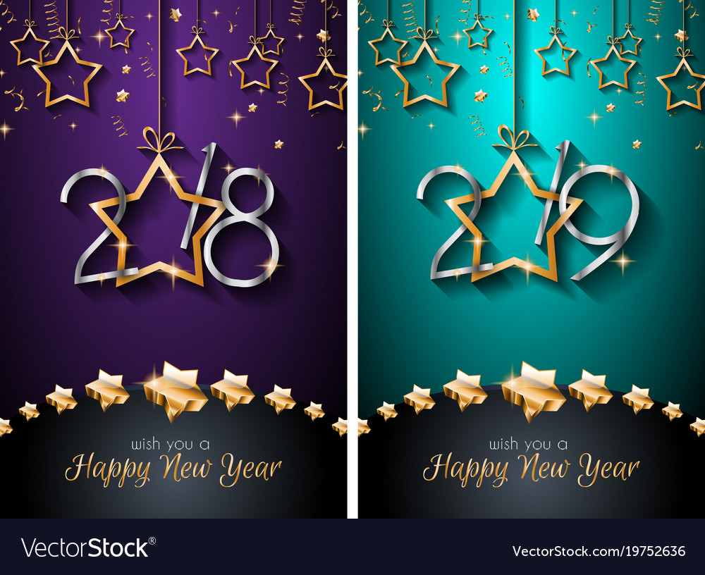 2018 2019 happy new year backgrounds for your vector image