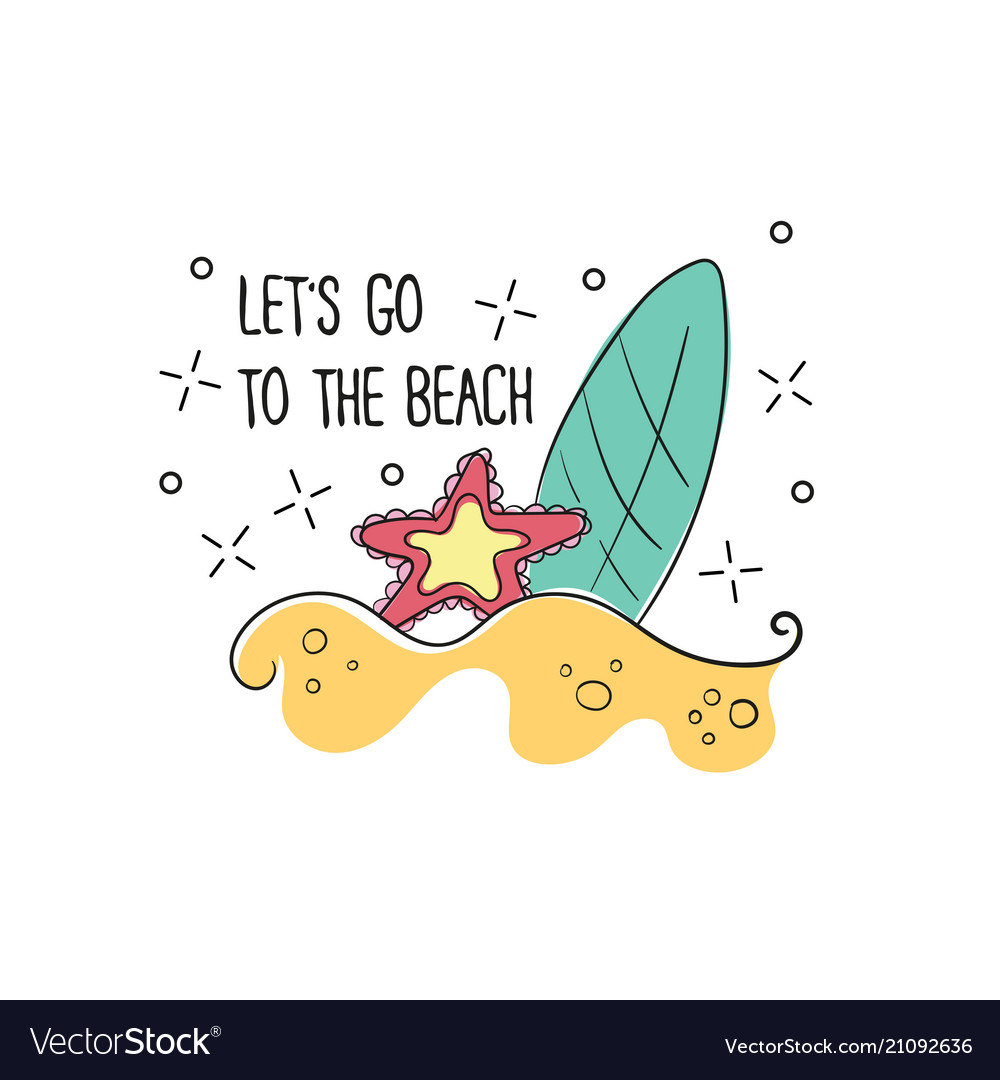 Board to surf on a sandy beach in format vector image