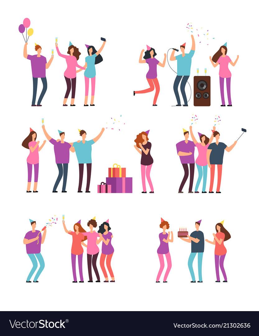 Friendly people men women dancing singing and
