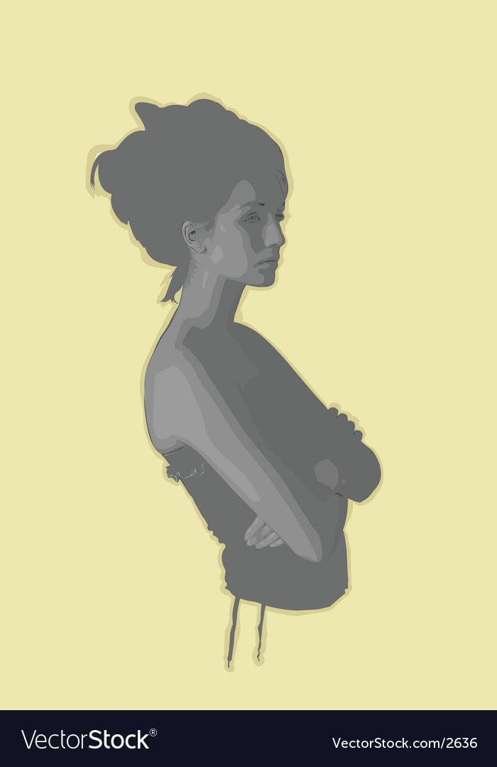 Gray girl vector image
