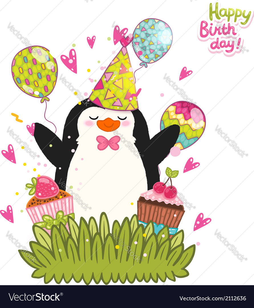 Happy Birthday card background with cute penguin