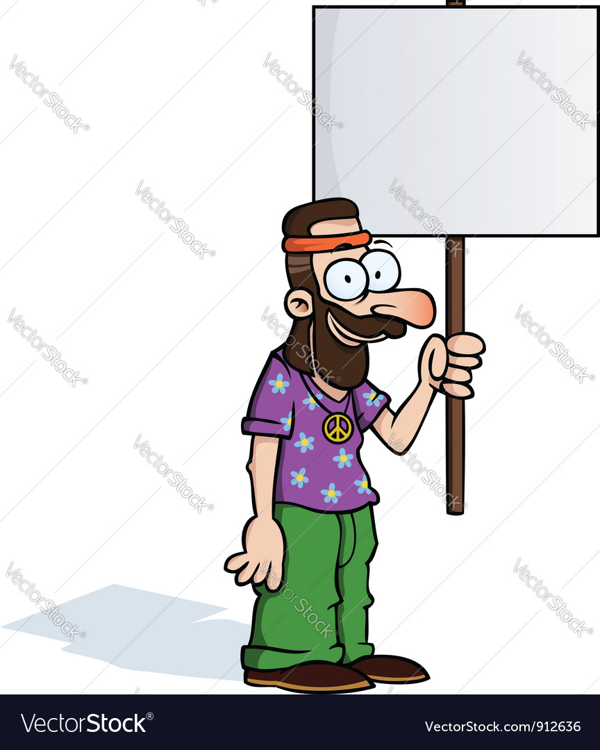 Happy hippie with protest sign vector image