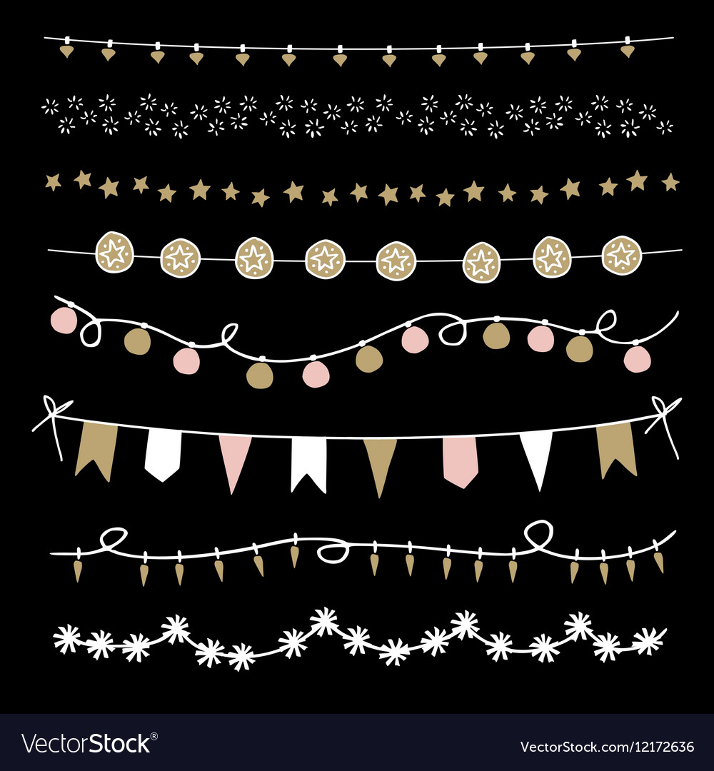 Set of Christmas borders and strings Hand drawn vector image