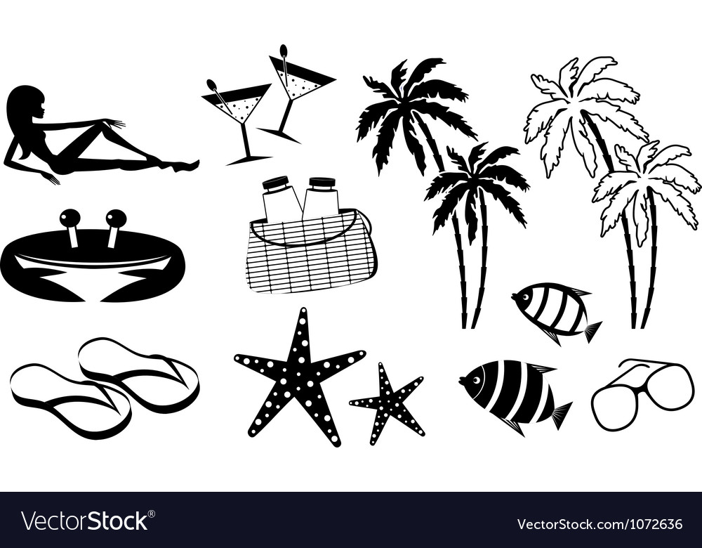 Set of icons of summer holiday on the coast