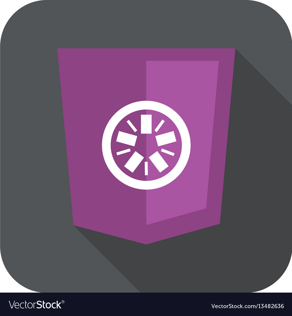 Web development shield abstract round violet sign