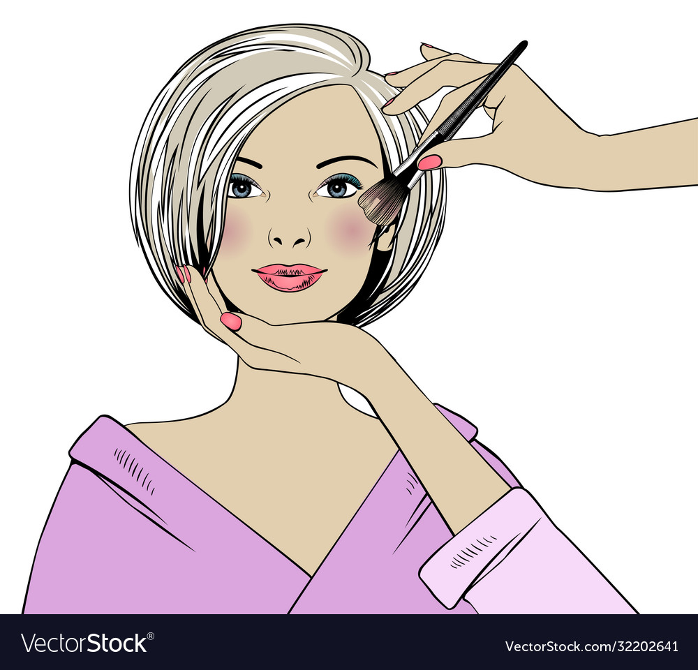 Beautiful woman and makeup artist in a beauty