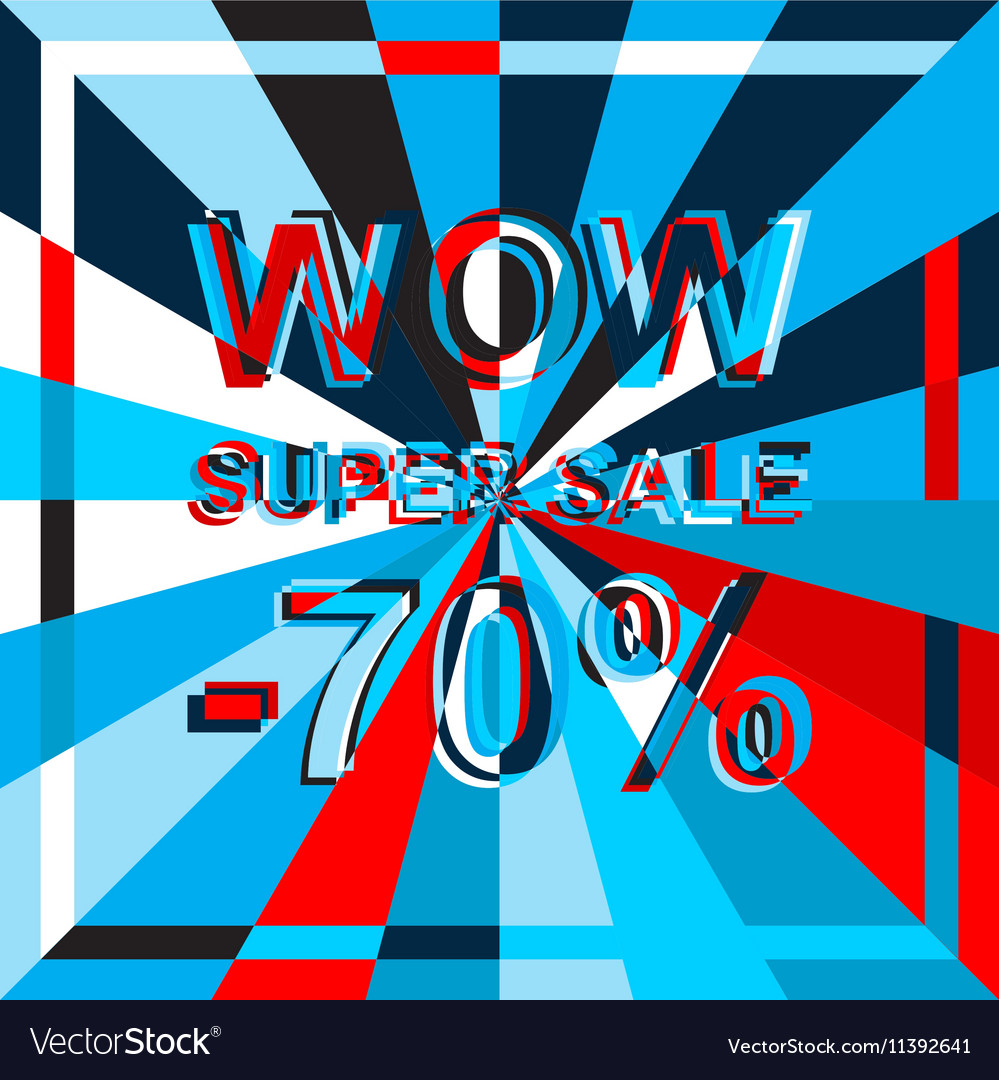 Big ice sale poster with WOW SUPER SALE MINUS 70 vector image