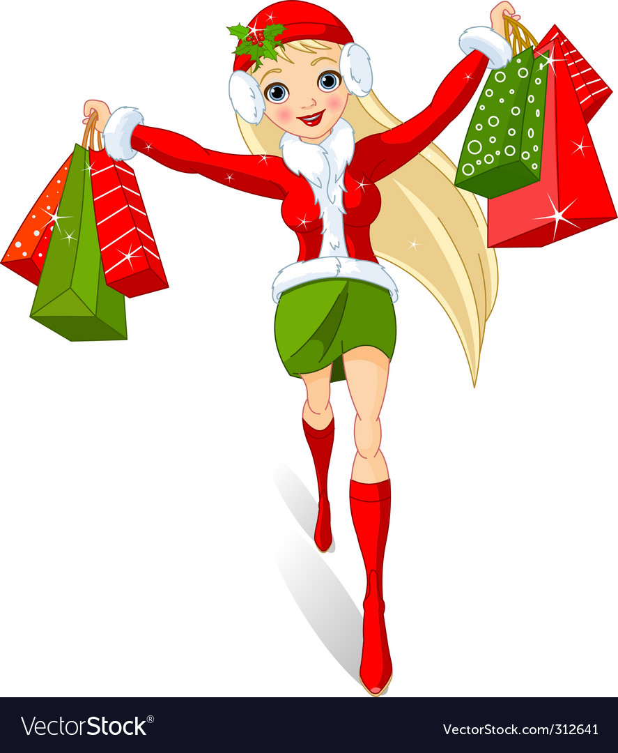 Christmas Shopping Royalty Free Vector Image Vectorstock