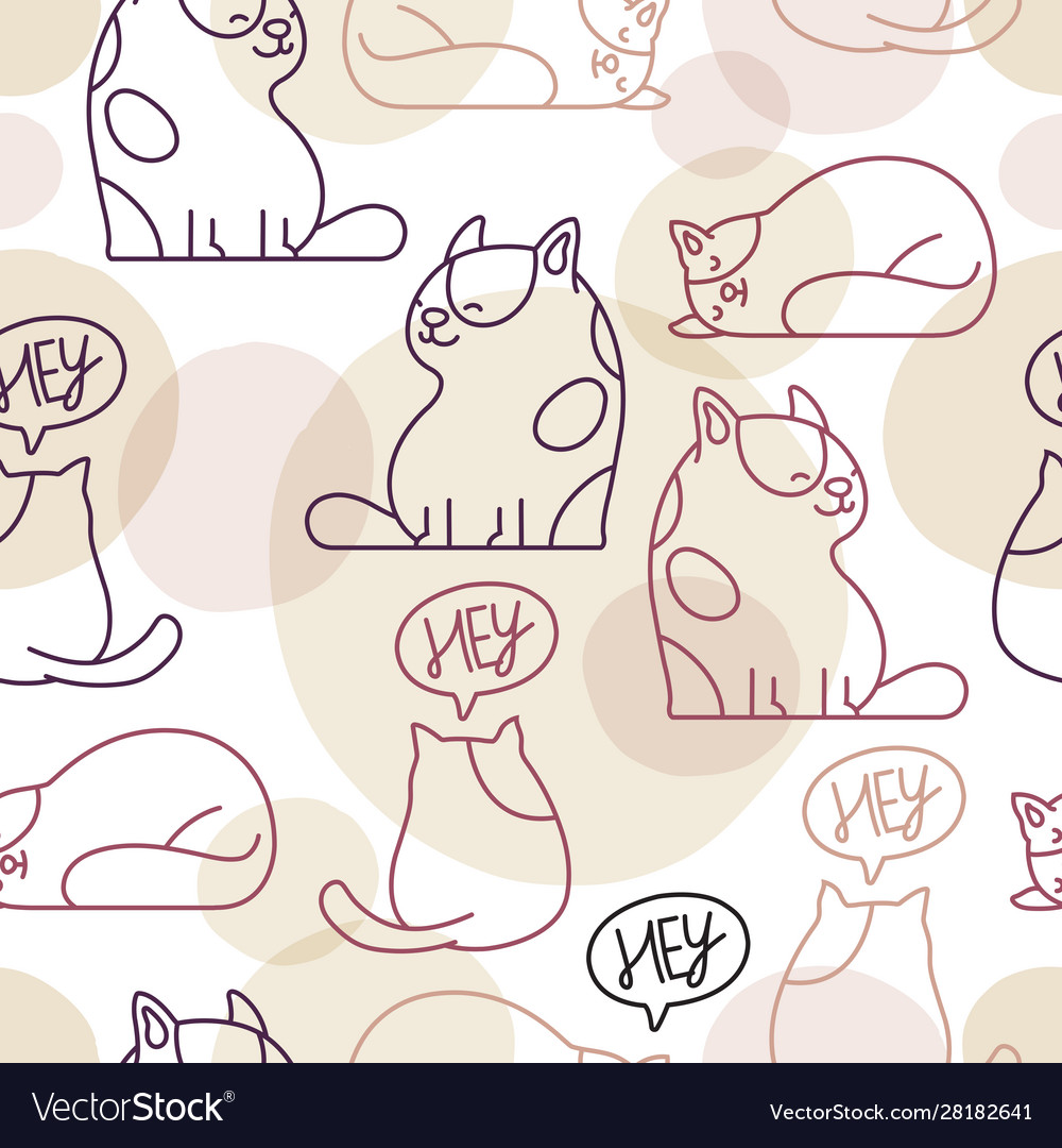 Funny fat cat seamless pattern
