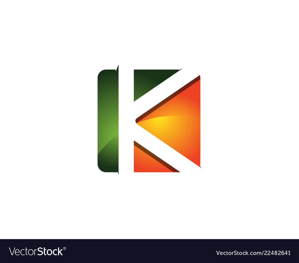 K 3d colorful square letter logo icon design