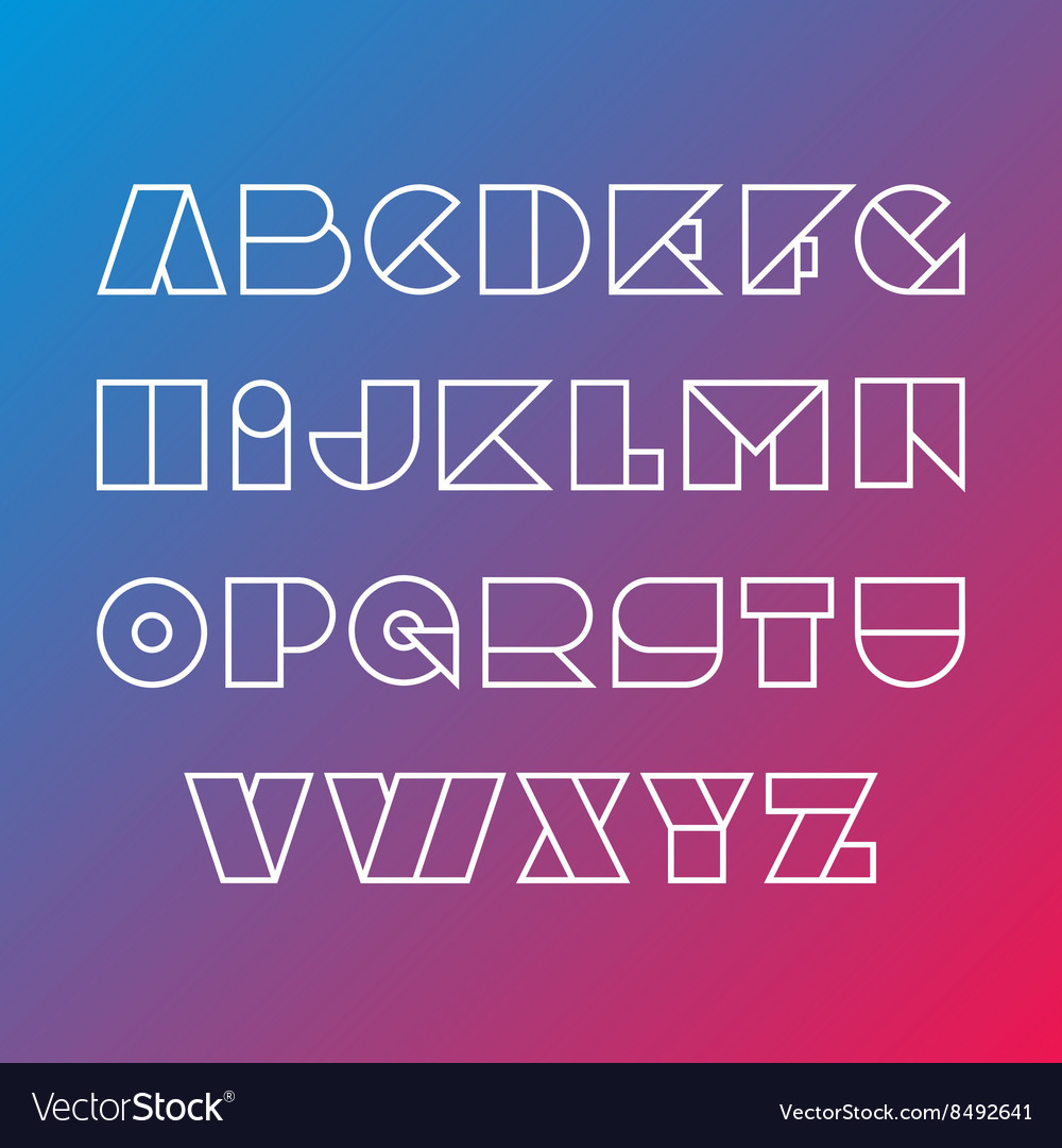 Linear silhouette font Geometric figures outline