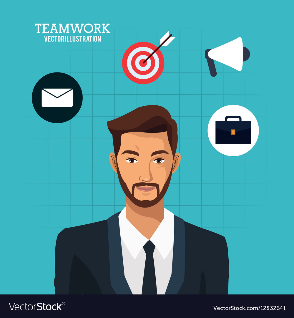 Man bearded suit business teamwork blue background vector image