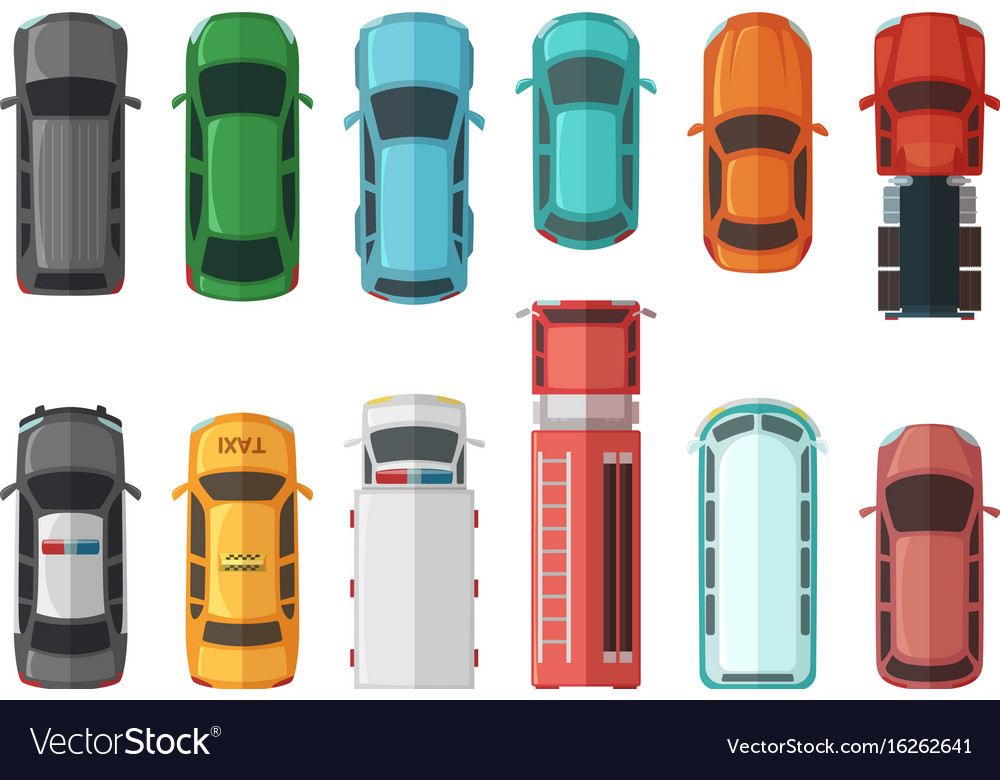 Pictures of transportation top view cars isolated