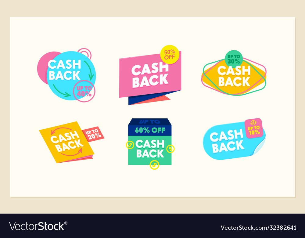 Set cashback icons money refund cash back